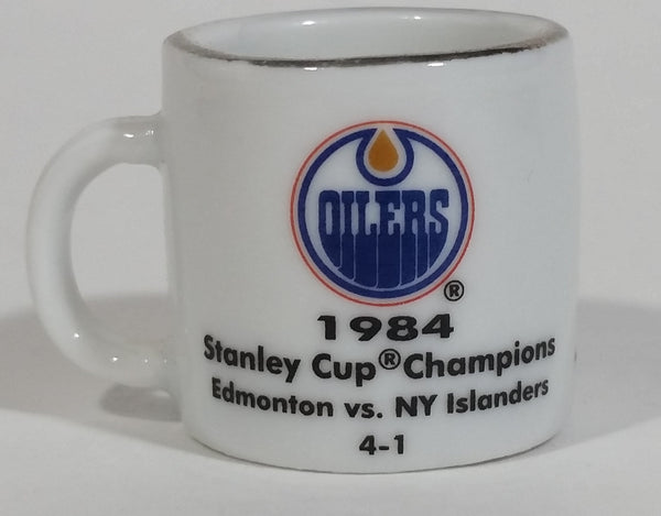 NHL Stanley Cup Crazy Mini Mug Edmonton Oilers 1984 Champs W/ Opponent & Score - Treasure Valley Antiques & Collectibles