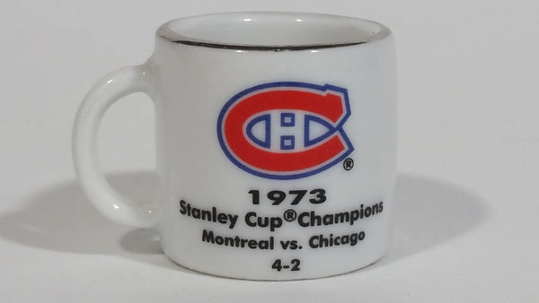 NHL Stanley Cup Crazy Mini Mug Montreal Canadiens 1973 Champs W/ Opponent & Score - Treasure Valley Antiques & Collectibles