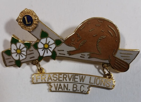 Vintage Beaver on Log Fraserview Lions Club Van. B.C. Pin