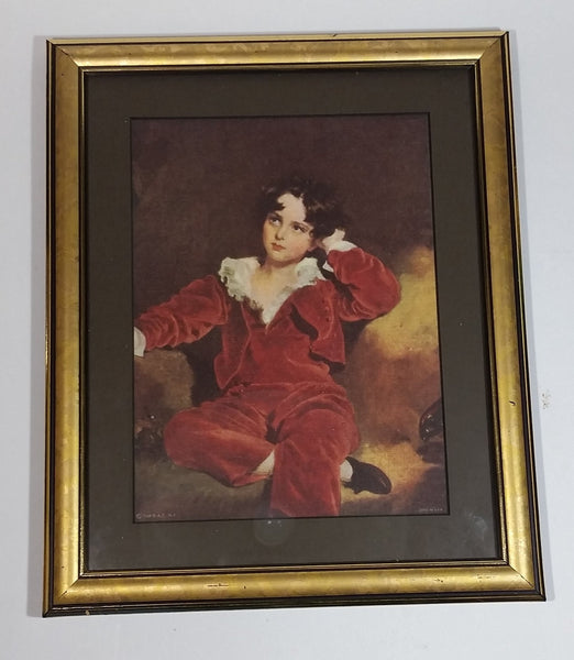 Vintage 1969 Framed Print of Red Boy (Master Lambton Lawrence, Thomas British 1769-1830) Crinoline Period