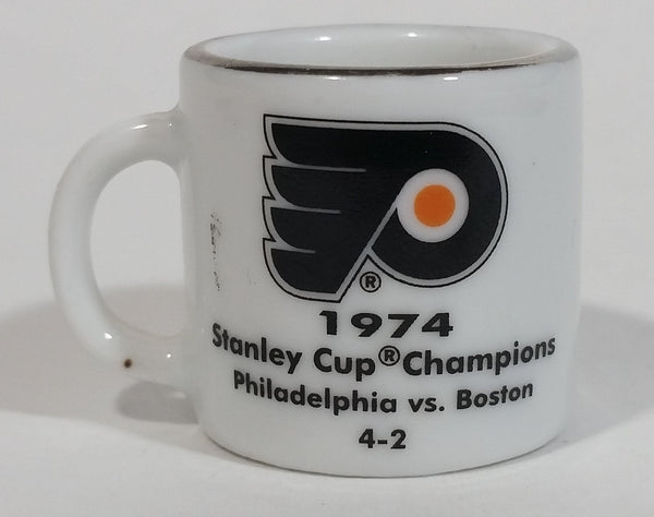 NHL Stanley Cup Crazy Mini Mug Philadelphia Flyers 1974 Champs W/ Opponent & Score - Treasure Valley Antiques & Collectibles