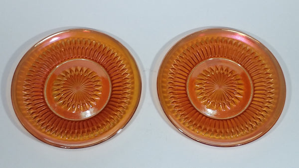 Very Beautiful Pair of Vintage Iridescent Orange Carnival Glass Plates