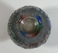 Vintage Mosaic Glass Vase / Candle Holder Iridescent Red Green Blue