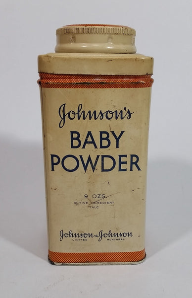 Vintage Johnson's Baby Powder Active Ingredient Talc 9 Ozs. Tin Container Johnson & Johnson Empty