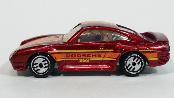 1988 Hot Wheels Porsche 959 Dark Red Die Cast Toy Race Car Vehicle