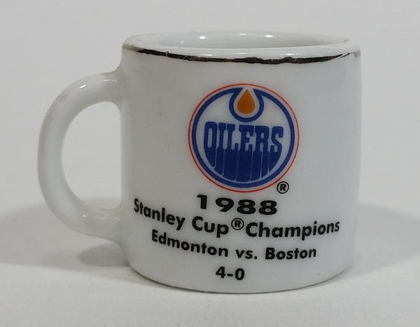 NHL Stanley Cup Crazy Mini Mug Edmonton Oilers 1988 Champs W/ Opponent & Score - Treasure Valley Antiques & Collectibles