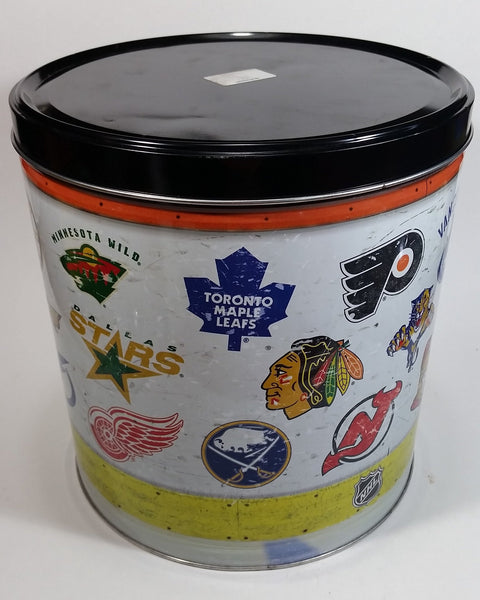 "2011 NHL Ice Hockey Team Logos Popcorn Expressions 9 1/2"" Tall Round Metal Canister - Empty"