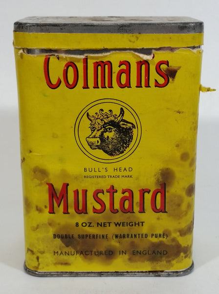 Vintage Colman's Mustard Bull's Head Yellow Tin Spice Container 8 oz Colman Foods of Norwich England - Treasure Valley Antiques & Collectibles