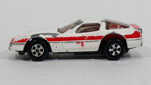 Vintage 1983 Ertl A-TEAM Chevrolet Corvette Die Cast Toy Car White Red Face RARE