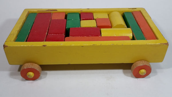 Vintage Wood Block Wagon with Blocks - Treasure Valley Antiques & Collectibles