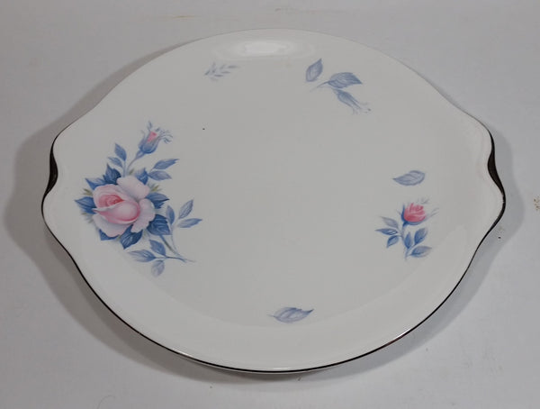 1950s Royal Albert Sorrento Light Pink Blue Flower Pattern Bone China Cake Serving Platter