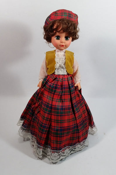"1960's Doll Music Box Clad in Scottish Outfit ""Amazing Grace"""