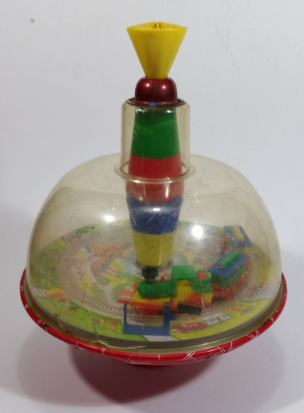 Vintage LBZ Tin Domed Spinning Top Toy Train Theme West Germany (Needs TLC)
