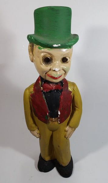 "Antique 1940s Charlie McCarthy Ventriloquist Top Hat Man Chalkware Decor 16"" Tall"