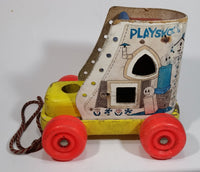 Vintage 1960s Playskool The Old Woman Who Lived In A Shoe Wooden Pull Toy - Treasure Valley Antiques & Collectibles