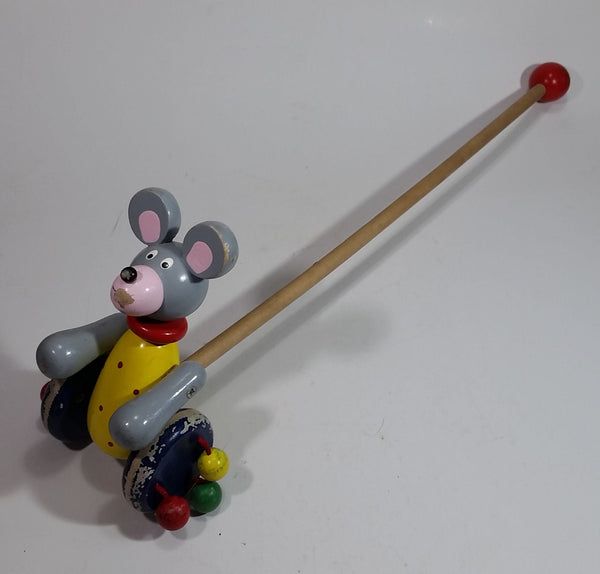 1960s Wooden Mouse Toy on Wheels Push Pull Stick Walking Play Wood Rolling Balls - Treasure Valley Antiques & Collectibles