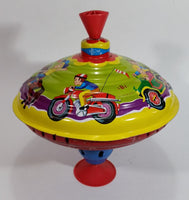Vintage LBZ West German Tin Spinning Top Toy Carousel Kids