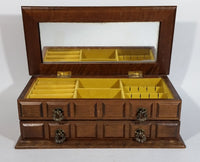 Vintage Carved Wooden Jewelry Box with Mirror and Yellow Felt Lining