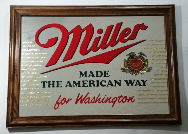 "Vintage Miller Made The American Way For Washington ""America's Quality Beer"" 22 1/2"" x 16 1/2"" Wooden Framed Bar Pub Advertising Decor"