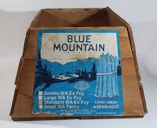 Vintage Early Mojonnier Inc Blue Mountain Brand Long Green Asparagus Vegetable Wooden Food Crate Walla Walla, Washington