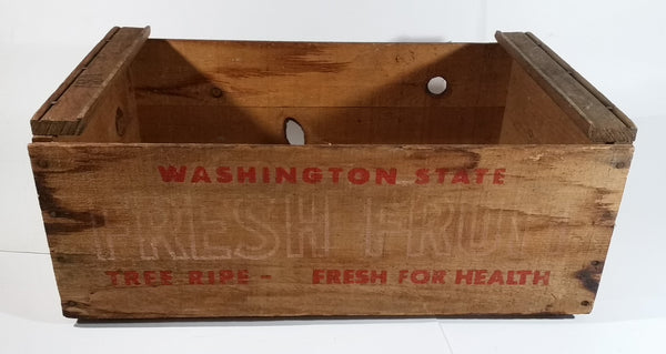 Vintage Washington State Fresh Fruit Tree Ripe Fresh For Health Wooden Food Crate - Treasure Valley Antiques & Collectibles