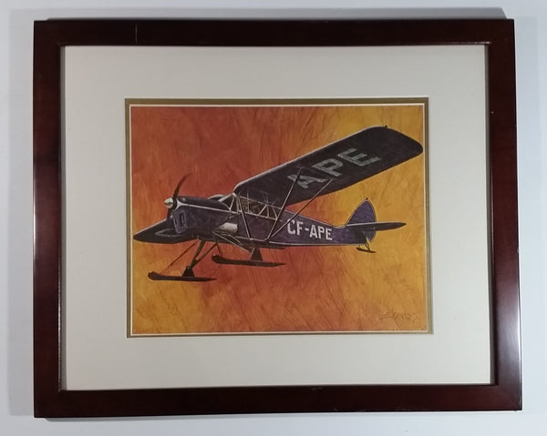 "Vintage 1970s CP Canadian Pacifc Air Through The Years CF-APE Ski Plane Aircraft 22"" x 18"" Wooden Framed Print By Robert Banks"