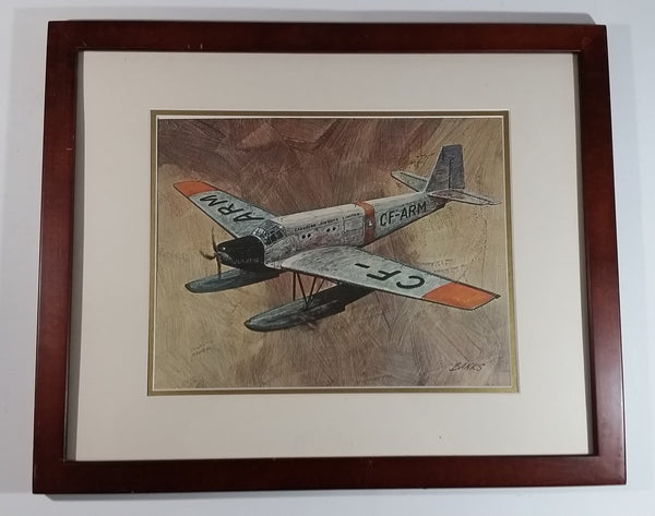 "Vintage 1970s CP Canadian Pacifc Air Through The Years CF-ARM Float Plane Aircraft 22"" x 18"" Wooden Framed Print By Robert Banks"