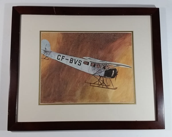 "Vintage 1970s CP Canadian Pacifc Air Through The Years CF-BVS Ski Plane Aircraft 22"" x 18"" Wooden Framed Print By Robert Banks"