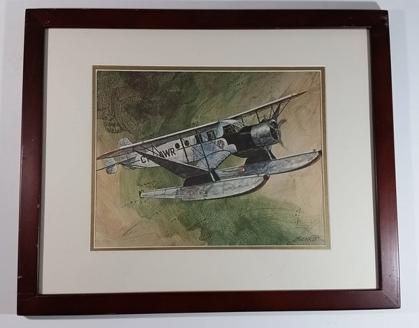 "Vintage 1970s CP Canadian Pacifc Air Through The Years CF-AWR Float Plane Aircraft 22"" x 18"" Wooden Framed Print By Robert Banks"