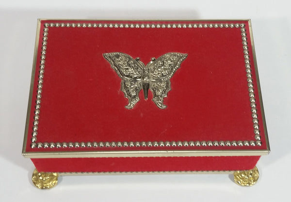Vintage Blue Bird Confectionery Harry Vincent Limited Butterfly Decor Red Velvet Footed Toffee Tin - Hunnington England