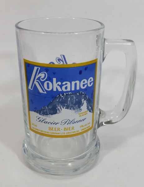 Rare Kokanee Glacier Pilsner Beer Okee Dokee Clear Glass Mug Collectible