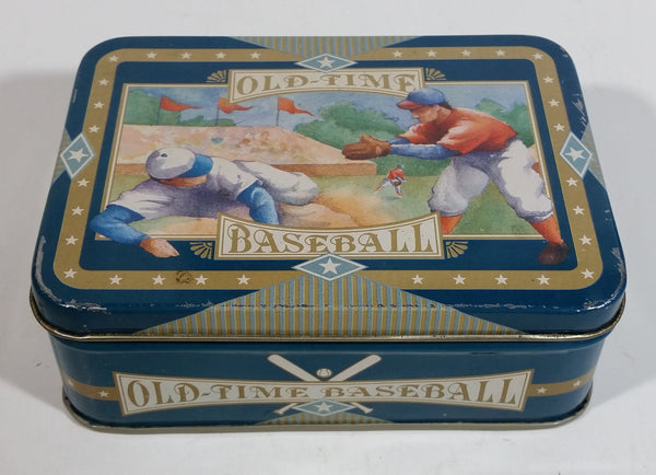 Vintage 1970s Old-Time Baseball Metal Tin Container Sports Collectible