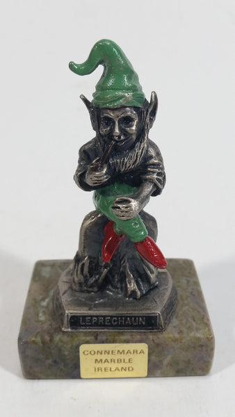 Vintage Metal Leprechaun Smoking Pipe Figurine on Connemara Ireland Marble Base Travel Collectible