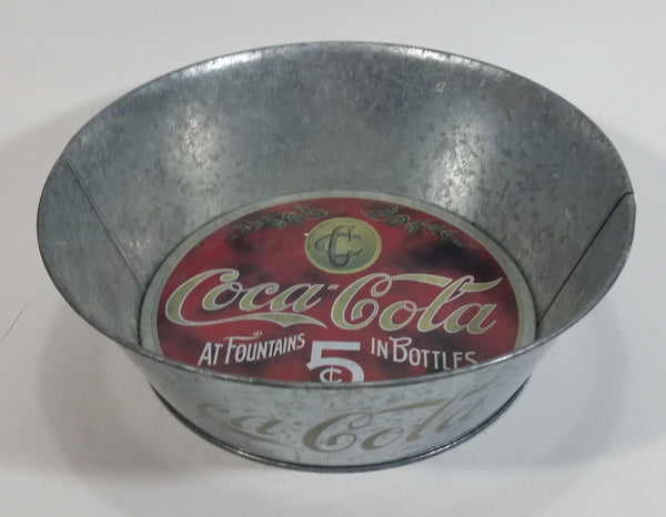 Coca-Cola Coke Soda Pop Beverage At Fountains 5¢ In Bottles Galvanized Metal Dish
