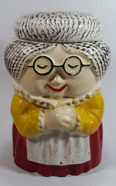 Vintage 1970s McCoy Grandma in Yellow in Red Ceramic Cookie Jar Collectible