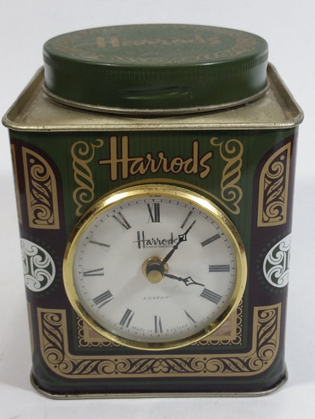 Vintage Hard to Find Harrods Green and Golden Clock in Tin Metal Container Made in Knightsbridge, London, England