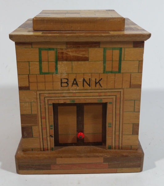 Vintage Wooden Brick Style Bank Building Wood Trick Coin Bank with Secret Compartment