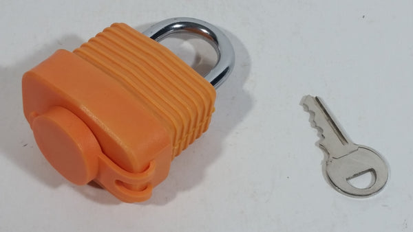 Abus Padlock 70AL45ORA Orange Rubber Coated Lock with Lock Cover and Key - Treasure Valley Antiques & Collectibles