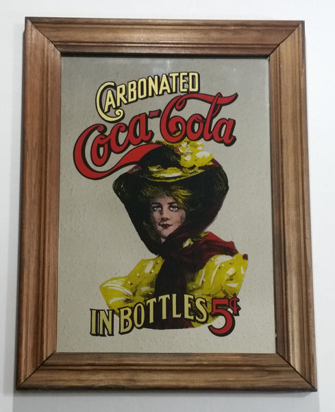 Vintage Coca-Cola Coke Soda Pop Beverage Lady In Yellow Carbonated In Bottles 5 Cents Wooden Framed Pub Mirror Advertisement