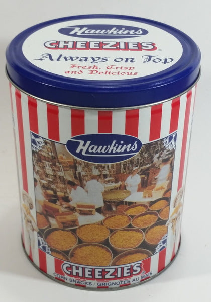 "HTF Hawkins Cheezies Corn Snacks ""Always on Top"" Fresh, Crisp, and Delicious Limited Edition Tin Metal Canister"