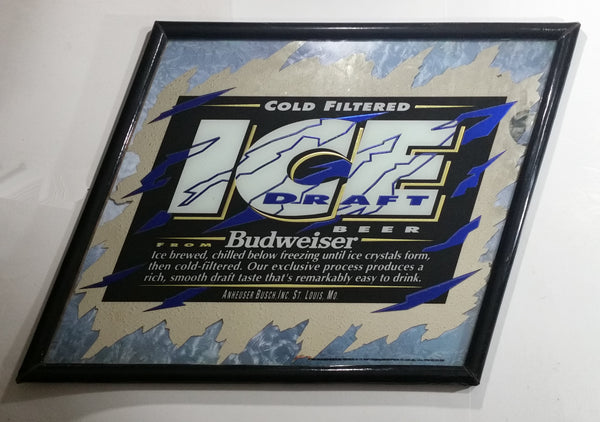 "1993 Budweiser Cold Filtered Ice Draft Beer Black, Blue and White Slanted Pub Mirror 23"" x 26"" Anheuser-Busch - Treasure Valley Antiques & Collectibles"