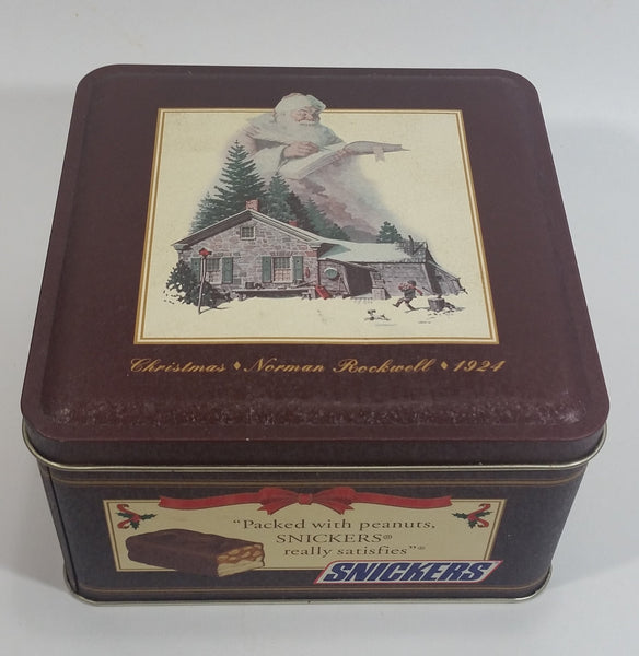 1993 Mars Snickers Chocolate Bar Christmas Norman Rockwell 1924 Brown Metal Tin Container Collectible
