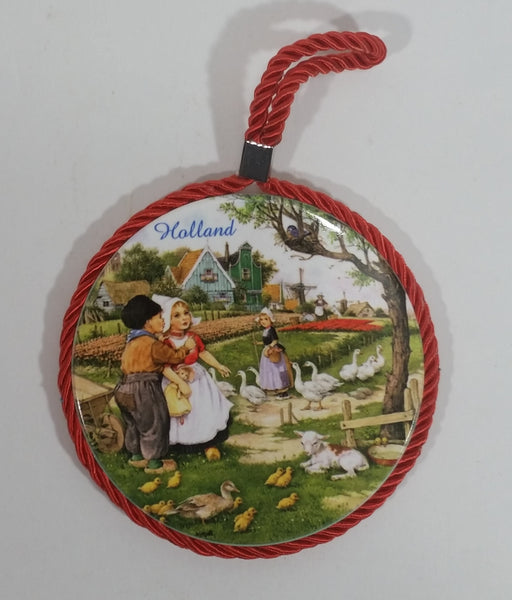 Holland Children Kids with Birds and Farm Animals Round Ceramic Tile Outlined in Red Rope and Cork Backing - Treasure Valley Antiques & Collectibles