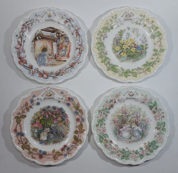Vintage 1982 Royal Doulton Jill Barklem Four Seasons Bone China Plates Full Set Made in England