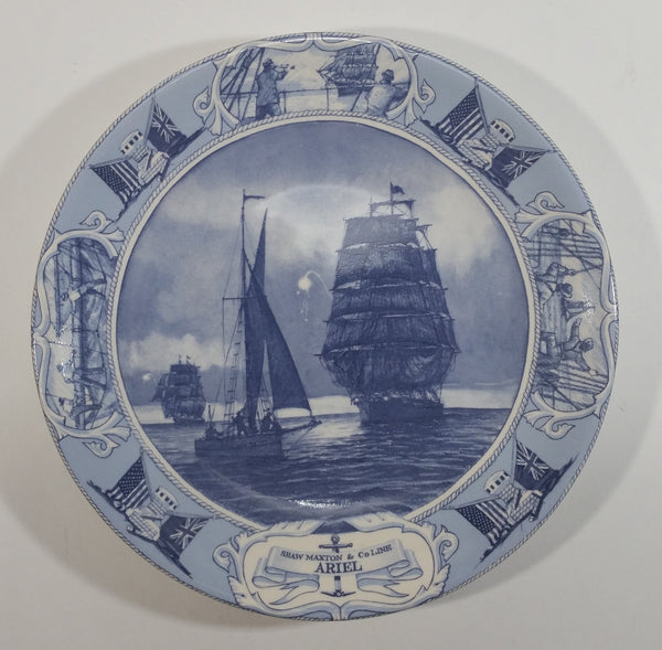 "1996 Wedgwood Queen's Ware Shaw Maxton & Co Line ""Ariel"" Tall Sail Ship Blue and White Collector Plate"
