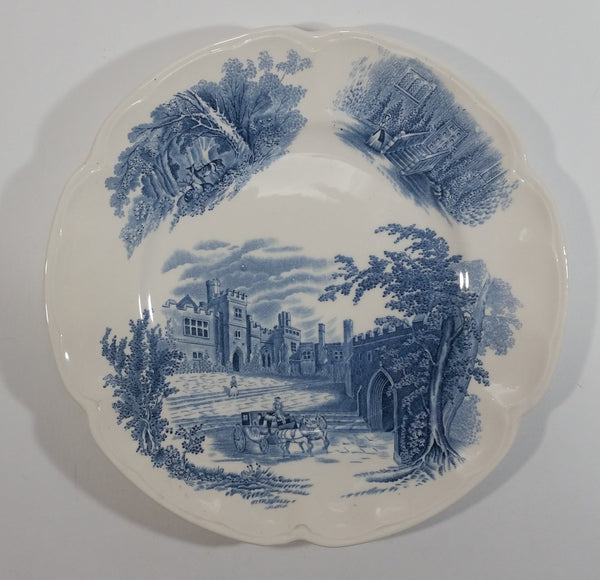 "Vintage Johnson Bros ""Haddon Hall"" Blue and White 9"" Round Ceramic Plate"