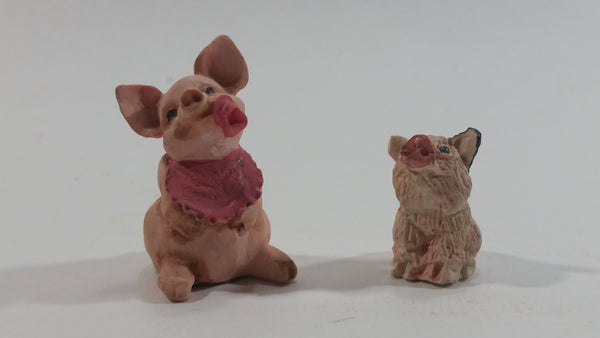 Very Cute Micro Mini Tiny Pink Pigs Resin Figurines Set of 2