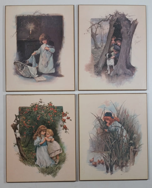 "Rare Vintage Scafa Tornabene ""An April Shower"" and other Scafa Tornabene Prints Wooden Wall Plaques Set of 4"