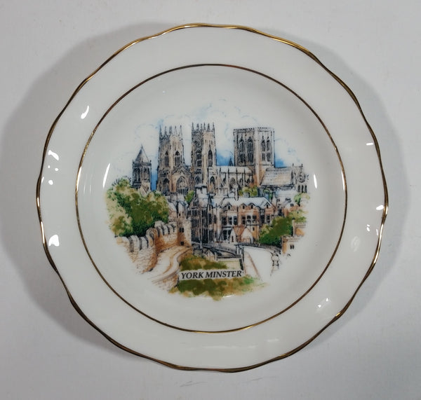 Rare Vintage Foley China York Minster Gold Rimmed Saucer Plate Souvenir Travel Collectible