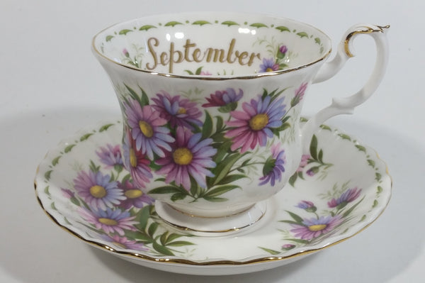 Vintage 1970s Royal Albert Flower of the Month Series September Michaelmas Daisy Bone China Tea Cup & Saucer Set